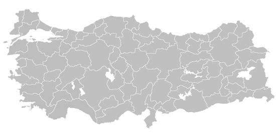 Kaart bestuurlijke indeling Turkije