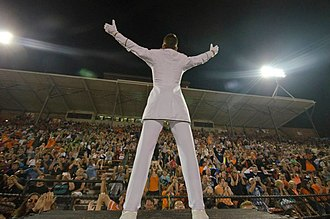 Bluecoats Drum and Bugle Corps - 2014 Drum Major Willie Veenstra turns to the crowd during the corps' encore performance.