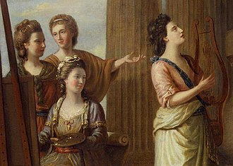 "Elizabeth Ann Linley - Linley (right, with lyre), in the company of other ""Bluestockings"" (1778)"