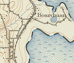 1938 USGS detail map of Boardman