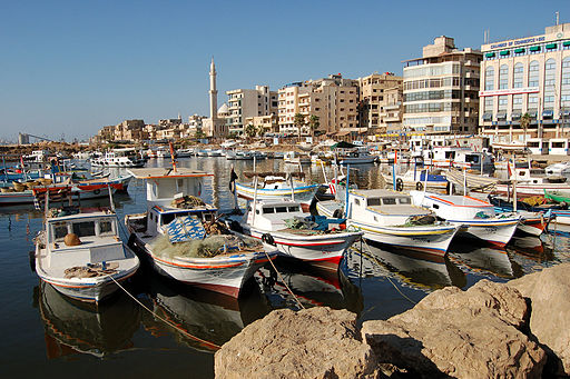 Boats on Tartus boat harbor