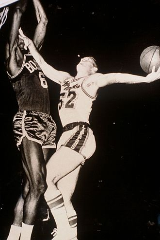 Celtics–Lakers rivalry - Bob McNeill and Bill Russell during the 1962 NBA Finals