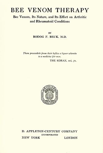 Bodog F. Beck - The title page of Beck's Bee Venom Therapy, 1935.