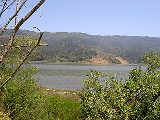 Bolinas Ridge - West side of Bolinas Ridge in Marin County, California, viewed from across the Bolinas Lagoon, 2009