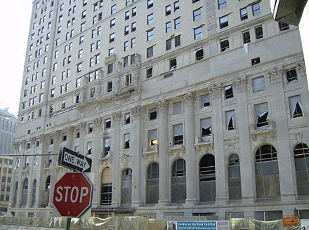 Westin Book-Cadillac Hotel during extensive restoration; the hotel tower reopened in 2008 BookCaddyHoteldetroitJune2007reno.jpg