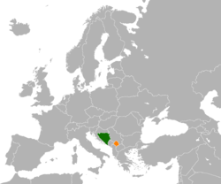 Map indicating locations of Bosnia and Herzegovina and Kosovo