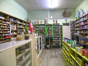Botánicals, such as this one in Jamaica Plain, Massachusetts, cater to the Latino community and sell herbal cures and folk medicine alongside statues of saints, candles decorated with prayers, lucky bamboo, and other items.