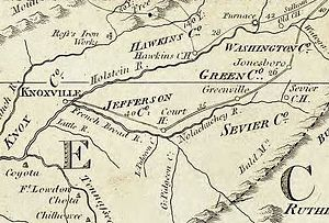 Southwest Territory - The Washington District, as it appeared on Abraham Bradley's 1796 postal map
