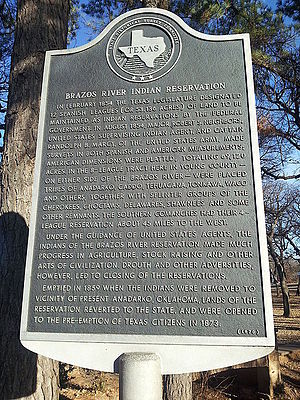 Robert Neighbors - Image: Brazos Indian Reservation Texas Historical Marker