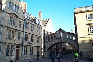New College Lane - The NW end of New College Lane, including the Bridge of Sighs.