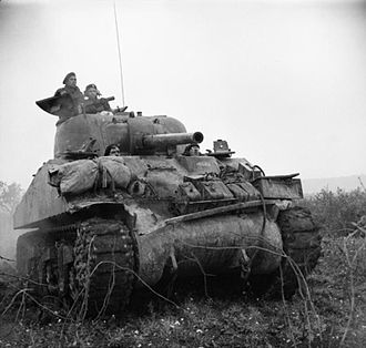 Tank -  An M4 Sherman tank in Italy in 1943 during WW II.