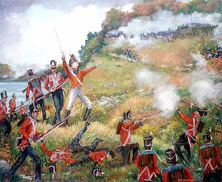 Issac Brock leading a charge in an attempt to retake the heights during the Battle of Queenston Heights; he was killed in the battle Brock1812.jpg