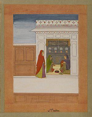 Pausha - Brooklyn Museum - Month of Pausha Page from a Baramasa Series