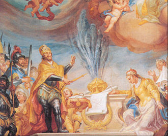Buchau Abbey - Allegorical ceiling painting of the Baroque abbey church showing Louis the Pious and Adelindis, founder of Buchau Abbey