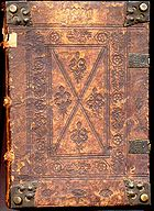 A 15th century incunabulum. Notice the blind-tooled cover, corner bosses and clasps.