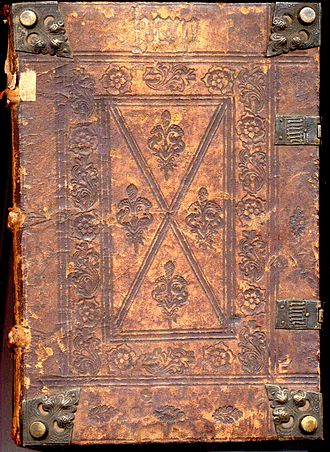 History of the book - A 15th-century Incunable. Notice the blind-tooled cover, corner bosses and clasps.