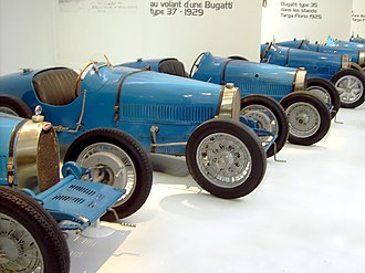 Bugatti Type 35 - Bugatti Type 37 (left) and 35 (right) cars at the Cité de l'Automobile Museum, Mulhouse