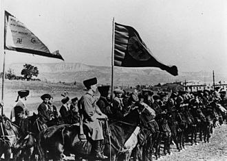Collaboration in German-occupied Soviet Union - Cossacks in the Wehrmacht under the Swastika flag, 1942. South-western Soviet Union
