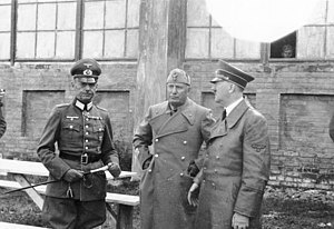 Italian Expeditionary Corps in Russia - Gerd von Rundstedt, Commander-in-Chief of Army Group South, with Benito Mussolini and Adolf Hitler on the Eastern Front