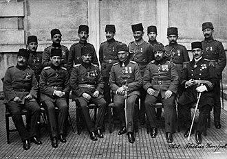 Fifth Army (Ottoman Empire) - Headquarters Personnel: front row, from right to left: Hüseyin Rauf Bey, Vehib Pasha, Sanders Pasha, Esat Pasha, Süleyman Pasha, Cevat Bey ?, back row, from right to left: unnamed, İsmet Bey, (from Second Army), Âsım Bey, Erich Prigge, Kâzım Bey, Şükrü Bey (from First Army), Refik Münir Bey (from Second Army)