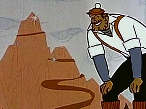 Paul Bunyan - A still from the 1959 cartoon Paul Bunyan. Typical among juvenile accounts, the cartoon features Paul Bunyan batting cannonballs in the American Revolutionary War, sinking pirate ships, and building the Big Rock Candy Mountain.