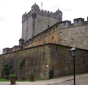 """Bad Bentheim - Castle walls with Pulverturm – or """"Powder Tower"""" behind"""