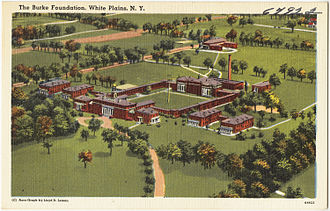 Burke Rehabilitation Hospital - Illustrated 1940s-era postcard showing the full grounds and central courtyard