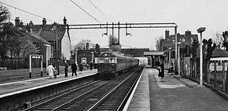 Bush Hill Park railway station - Bush Hill Park, looking south towards central London, in 1961