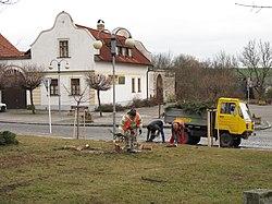 Byšice, úklid vánočního stromku.JPG