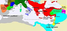 Map showing the countries surrounding the Mediterranean Sea. Along the west and southwest coasts is the Muwahid Caliphate. The Zangid Sultanate covers most of the southeast coast and the inland areas from the east coast, which is occupied by the Crusader States. The Byzantine Empire covers most of the northeast coast and inland areas. The center of the north coast is held by the Holy Roman Empire and the northwest coast is held by the kingdoms of France and Aragon.