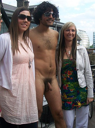 Clothed female, naked male - Image: CFNM WNBR London 2010