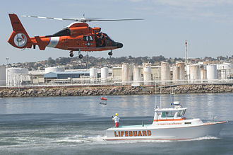 Coast Guard Air Station Los Angeles - Crews from CGAS Los Angeles and Baywatch Cabrillo demonstrate search and rescue techniques in San Pedro, California