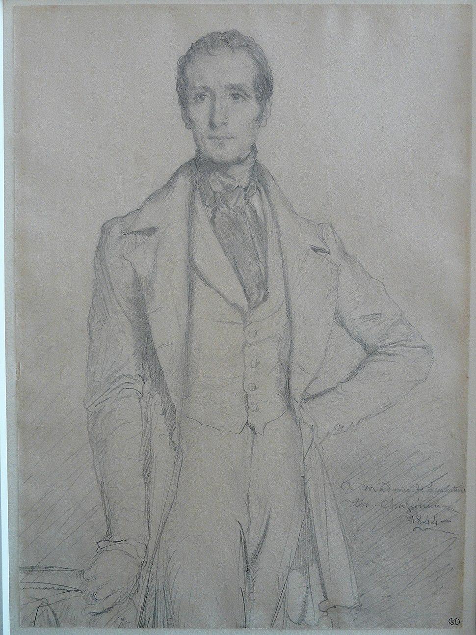 CHASSERIAU Théodore,1844 - Portrait de Lamartine - drawing (dessin, disegno)