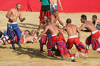 Rugby union in Italy - A match of Calcio Fiorentino, in Florence, sometimes seen as a parallel development to rugby.