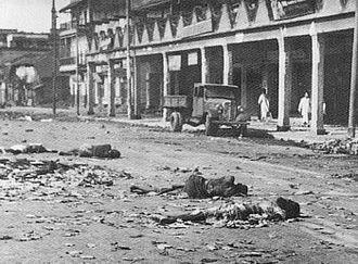 Direct Action Day - Dead and wounded after the 'Direct Action Day' which developed into pitched battles as Muslim and Hindu mobs rioted across Calcutta in 1946, the year before independence