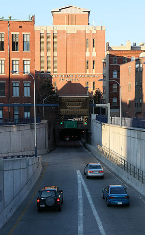 Callahan Tunnel - The entrance to the tunnel just past I-93 Southbound Exit 24B to Logan Airport.