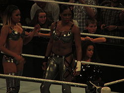 Two dark skinned women standing in the ring, a rope is visible.