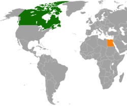 Map indicating locations of Canada and Egypt