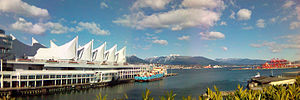Canada Place - Panorama view of Canada Place's sails with the North Shore in the background.