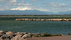 Le Barcarès - The Pic du Canigou seen from Port Murano, in Barcarès