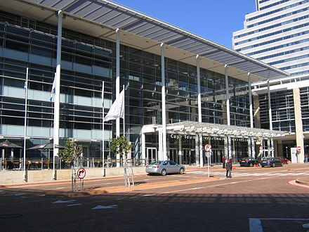 Entrada principal do &quotCape Town International Convention Centre&quot. - Cidade do Cabo