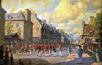 Conquest of 1760 - Depiction of the French capitulation of Montreal in September 1760.