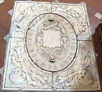 Cappella della compagnia di s. luca, int, montorsoli, lapide tomba comune artisti 03.jpg