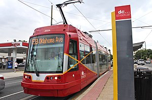 H Street/Benning Road Line - A streetcar at the line's Oklahoma Avenue terminus in June 2016