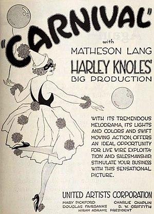 Carnival (1921 film) - American advertisement