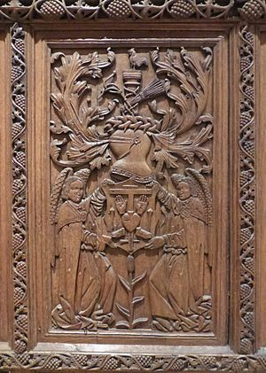 St Andrews Castle - Beaton's arms on a panel believed to have been removed from one of his private apartments in the castle.