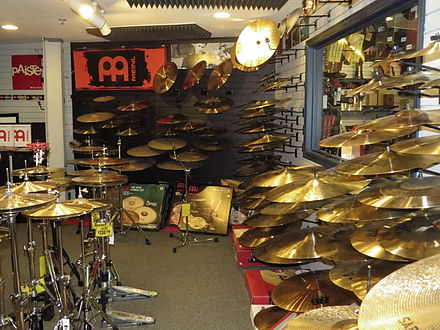 A cymbal room in a music store. Cascio Interstate Music SuperStore Cymbal Room.jpeg