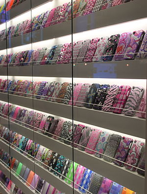 2010 photo of a display of cell phone covers.