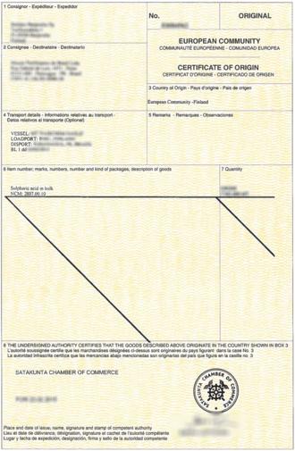 Certificate of origin - A European Union certificate of origin, for a cargo loaded in Finland