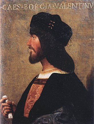 Cesare Borgia - Profile portrait of Cesare Borgia in the Palazzo Venezia in Rome, ca. 1500–10